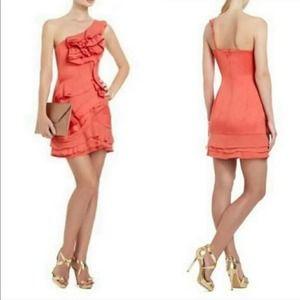 BCBG MAXAZRIA Jonesy Ruffled One Shoulder Dress